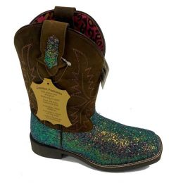 Smoky Mountain Pastel Glitter and Crazy Horse Ariel Youth Western Boots 3077Y