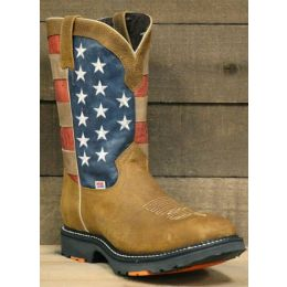 RockinLeather Mens American Flag Steel Toe Work Boot 3110