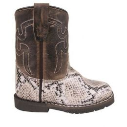 Smoky Mountain Boots White and Brown Waxed Distress Autry Toddler Boots 3124T