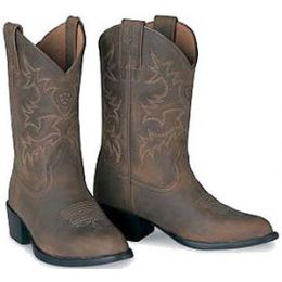 Ariat R-Toe  Distressed Brown Leather Kids Western Boots  31824