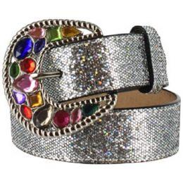 3211 Silver Glitter & Rhinestone Buckle Western 3D Girls Belts