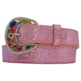 3219 Pink Glitter & Rhinestone Buckle Western 3D Girls Belts