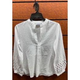 New Direction Ladies White Long Sleeve Eyelet Shirt 32500