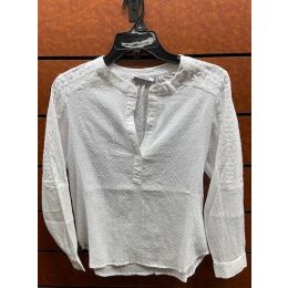New Direction Ladies White Long Sleeve Pull Over Top 32506