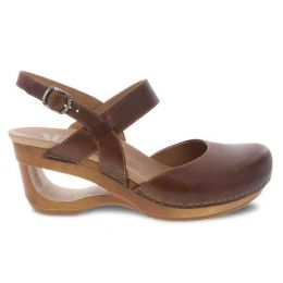 Dansko Taci Tan Waxy Calf Womens Comfort Wedge Sandals 3413-371500