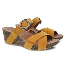 Dansko Susie Mango Milled Nubuck Comfort Slide On Womens Wedge Sandals 3420-460300