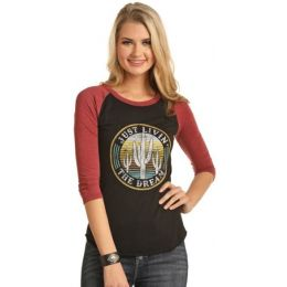 Rock & Roll Cowgirl  Women's Brown 3/4 Sleeve Tee 48T3147