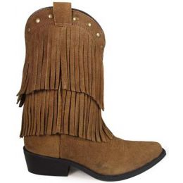 Smoky Mountain Wisteria Fringe Snip Toe Brown Suede Youth Western