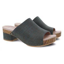 Dansko Maci Teal Textured Leather Womens Comfort Slide Sandals 3622-191500