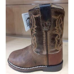 Smoky Mountain Autry Toddlers Brown Distress/Brown Crackle Leather Side Zipper Boot 3662T