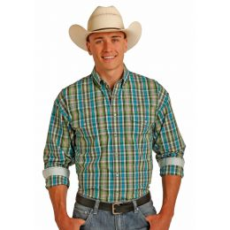 Panhandle Long Sleeve Snap Poplin Plaid Green and Blue Shirt 36S2002