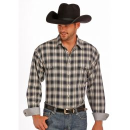 36S9146 Plaid Dobby Mens Panhandle Slim Long Sleeve Snap Western Shirt