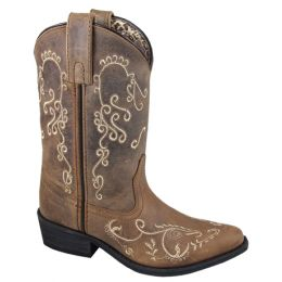 Smoky Mountain Youth Antique Mocha with Cream Embroidery Snip Toe Western Boots 3754