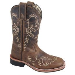 Smoky Mountain Boots Girls Brown Waxed Marilyn Leather Square Toe Boots 3845