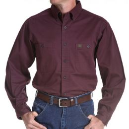 3W501BG Burgundy Riggs Workwear Twill Long Sleeve Wrangler Mens Shirts