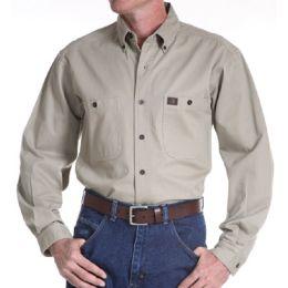 3W501KH Khaki Riggs Workwear Twill Long Sleeve Wrangler Mens Shirts
