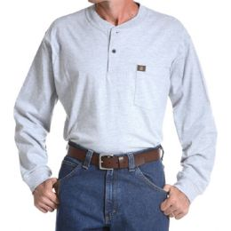 Ash Riggs Workwear Long Sleeve 2-Button Henley Wrangler Mens Shirts