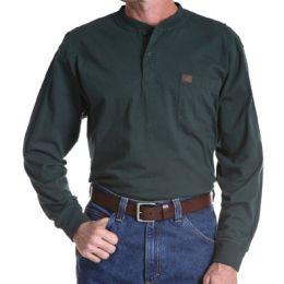 Riggs Workwear Long Sleeve 2-Button Henley Wrangler Mens Shirts