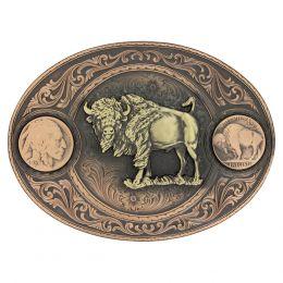 Montana Silversmiths Miner's Buffalo Indian Head Nickel Belt Buckle With Buffalo 4050BLB-941L