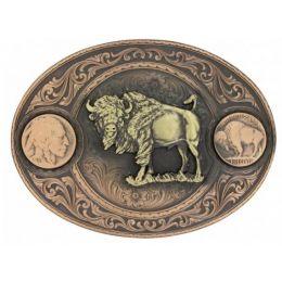 Montana Silversmith Miner's Buffalo Indian Head Nickel Belt Buckle With Buffalo 4050BLB-941L