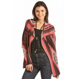 Rock & Roll Cowgirl Red Long Sleeve Aztec Womens Stripe Cardigan 46-2898