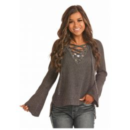 Rock & Roll Cowgirl Grey Pullover Lace Up V-Neck Sweater 46-2913-02