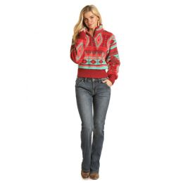 Rock and Roll Cowgirl Pink Aztec Printed Ladies Long Sleeve Pullover 48T1182