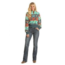 Rock and Roll Cowgirl Turquoise Aztec Ladies Long Sleeve Printed Pullover 48T1198