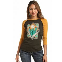Rock & Roll Cowgirl Women's Yellow/Brown 3/4 Sleeve Baseball Tee 48T3151