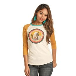 Rock & Roll Cowgirl Multi Color Women's Desert Scene Baseball Tee 48T3167