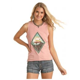 Panhandle Slim Rock & Roll Cowgirl Desert Scene Tank Shirt 49-5169