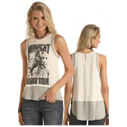 Panhandle Slim Rock & Roll Cowgirl Midnight Rodeo Tour Tank Shirt 49-5186