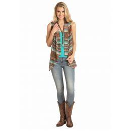 Rock & Roll Cowgirl Women's Teal & Brown Stripe Knit Vest 49V4531