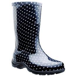 5013BP Black and White Polka Dot Ladies Rain Boots