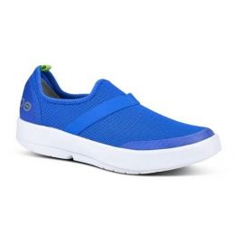 Oofos White and Blue Womens OOMG Low Comfort Shoe 5070