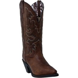 51078 Brown 12inch Shaft Snip Toe Laredo Womens Western Cowboy Boots