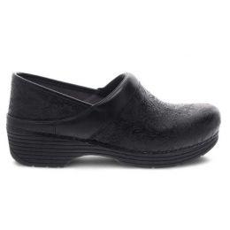 Dansko LT Pro Black Floral Tooled Womens Comfort Clogs 5200-360202