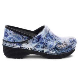 Dansko LT Pro Silver/Blue Paisley Patent Womens Comfort Clogs 5200-950202