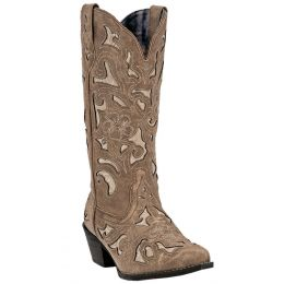 52041 Tan Crackle Leather Bone Underlay Womens Western Cowboy Boots