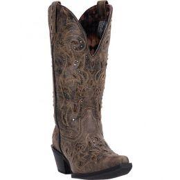 52050 Black/Tan Wide Calf Laredo Womens Western Cowboy Boots