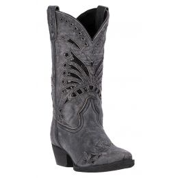 52120 Stevie Black Leather Snip Toe with Inlay Womens Laredo Western Boots