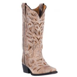52123 Roxanne Tan Leather Square Toe with Inlay Womens Laredo Western Boots