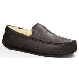 UGG Ascot Brown Leather Mens Indoor/Outdoor Slipper