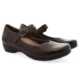Dansko Fawna Chocolate Burnished Calf Womens Mary Jane Shoes 5501-230200