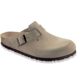 Birkenstock Boston Taupe Suede Mens Soft Footbed Casual Shoes 560771-R