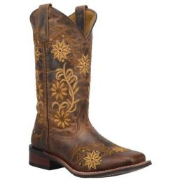 Laredo Women's Brown Secret Garden Floral Embroidered Pull-On Cowgirl Boot 5822