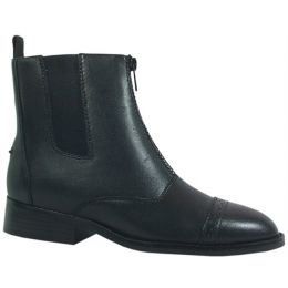Black Leather Zipper With Elastic Gores Paddock Womens Riding Boots