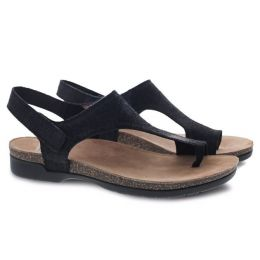 Dansko Reece Black Full Grain Suede Womens Sandals 6024-180200