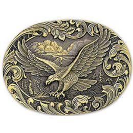 60803C Soaring Eagle Brass Oval Montana Silversmiths Belt Buckles