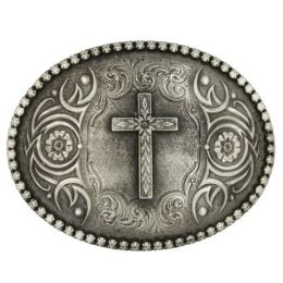 Montana Silversmiths Silver Floral Cross Classic Antiqued Attitude Mens Belt Buckle 61013